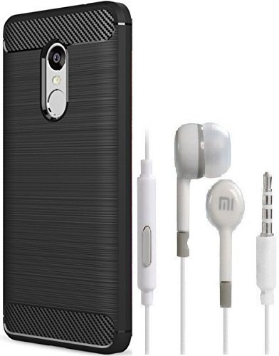 SHIPZONE Xiaomi Redmi Note 4 mi Earphone with mic & Redmi Note 4 Carbon Fiber Shock Proof Rugged Armor Case with Metallic Brush Finish Back Cover - Black Texture [Combo Set]