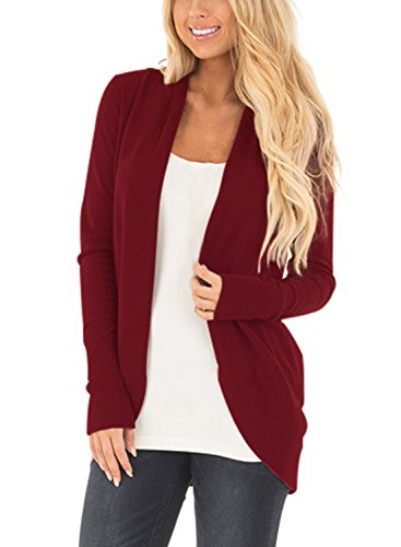 Cnfio Damen Strickjacke Casual Cardigan Langarm Stricken Pullover Outwear mit Taschen Mantel Jacke Winter rot 2 XL