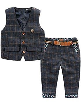 [Kinderanzug Jungen Gentleman] 2 pcs Weste + Hose mit Gürtel Bekleidungsset Baby Kleinkind Kinderanzug Junge Anzug