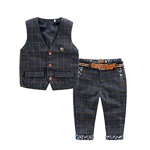 [Kinderanzug Jungen Gentleman] 2 pcs Weste + Hose mit Gürtel Bekleidungsset Baby Kleinkind Kinderanzug Junge Anzug Schwarz 90