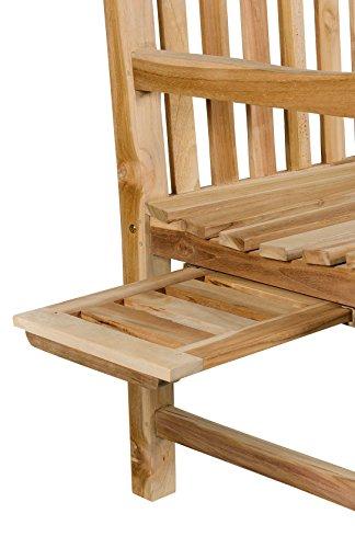 2-Sitzer Teakbank Gartenbank ink. ausziehbarem Tablett ca. 120 cm breit Sitzbank Parkbank Holzbank Teak Bank - 3