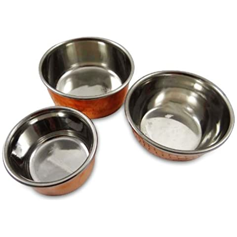 Conjunto De 3 Sirviendo Tazón Katoris Indian Food utensilios de cobre Vajillas 3 Tamaño