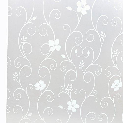 WINOMO Dekorative Selbstklebend Privatsphäre Fenster Film Eisen Blume Mattglas Aufkleber Fenster Abziehbilder für Badezimmer Schlafzimmer Büro Küche 45x100cm (Weiß)