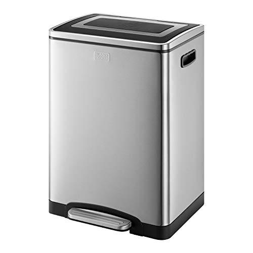 Black+Decker 61079 Cubo de Reciclaje Doble de 40l BXBN0003GB con Tapa de Cierre Suave, Acero Inoxidable...