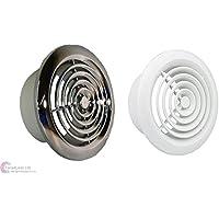 """Rejilla de ventilación redonda de cromo o blanco 4""""100mm conducto extractor ventilador baño"""