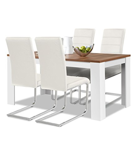 agionda® Esstisch + Stuhlset : 1 x Esstisch Toledo Nussbaum/Weiss 140 x 90 cm + 4 Freischwinger Weiss -