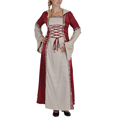 Elbenwald Kapuzenkleid Mittelalter Kleid, zweifarbig (nat/Bord), Schnürung, Zierborte - (Empire Larp Kostüm)