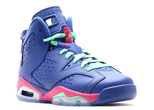 Nike Air Jordan 6 Retro GG, Chaussures de Running Entrainement Fille gm ryl, wht-vvd pnk-lt lcd grn
