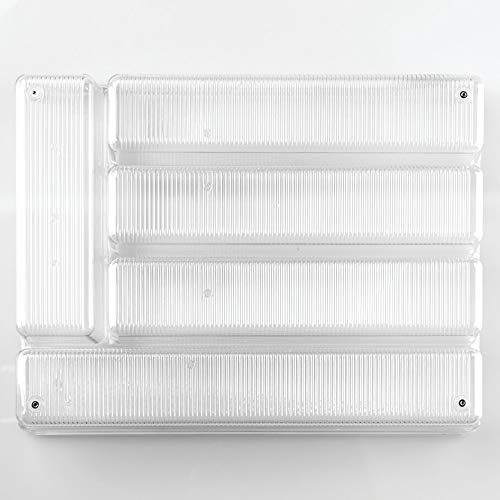 iDesign Linus Besteckkasten, großer Schubladen Besteckeinsatz aus Kunststoff mit fünf Fächern, durchsichtig - Fünf Schublade-buffet