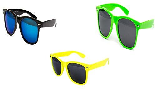 3 er Set Sonnenbrille Partybrille Festival Sunglass Piloten Brille Schwarz Neon Gelb Neon Grün D292