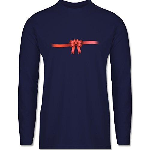Valentinstag - Ich Bin ein Geschenk - Schleife - Herren Langarmshirt Navy Blau
