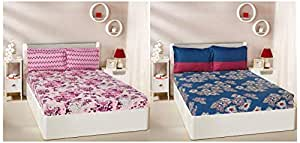 Amazon Brand - Solimo Floral Breeze 144 TC 100% Cotton Double Bedsheet with 2 Pillow Covers, Purple & Floral Flakes 144 TC 100% Cotton Double Bedsheet with 2 Pillow Covers, Blue Combo