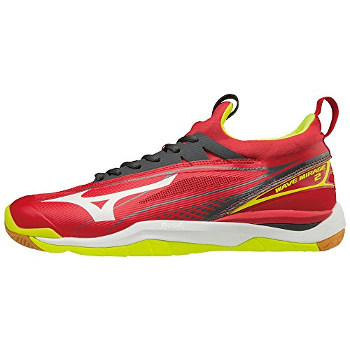 Mizuno Wave Mirage 2, Chaussures de Running Homme Multicolore (Marsred/white/safetyyellow 91)