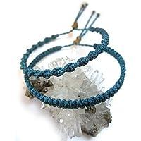 X2 Bracelets brésiliens/amitié/surf/en fil Bleu Canard tissés/tressés main en macramé avec du fil ciré et ajustables Réf.PP+PS228