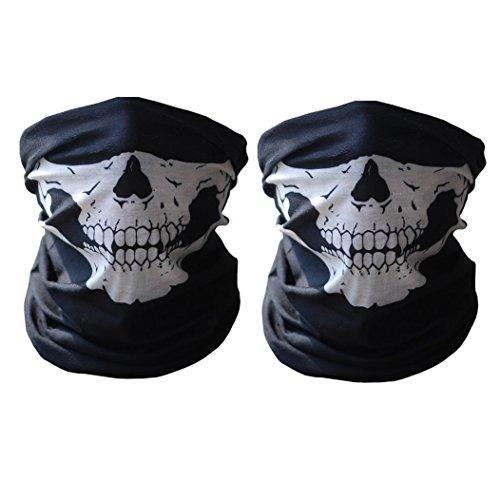Shizak, mascherina antipolvere, antivento, da moto e sport all'aria aperta con teschio, maschera da halloween o da motociclista, 2 pezzi di colore nero