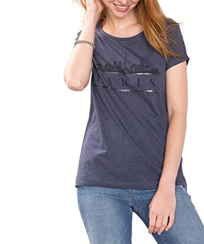 edc by ESPRIT Damen T-Shirt Blau (GREY BLUE 5 424)