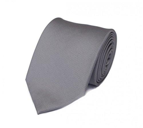 Edle Fabio Farini Krawatte, 8 cm in verschiedenen Farben, Grau Uni (Blau Seidenkrawatten Grau)
