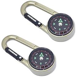 Munkees 2x Mousqueton de Boussole avec thermomètre, Porte-Clés, Multifonctions, pour Escalade, Aluminium, Double Pack, 3135
