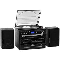 AUNA 388-DAB + - Chaîne compacte, 2 Enceintes, Fonction BT, Tuner Radio FM/Dab+, Platine Vinyle, Lecteur CD avec Fonction MP3, 2 platines Cassette, USB et SD, Fonction d'encodage, Noir