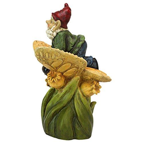 Design Toscano Auf dem Rücken eines Schmetterlings Gartenzwerg-Statue-Rasenzwerg, Vollfarbe wirklichkeitsgetreu