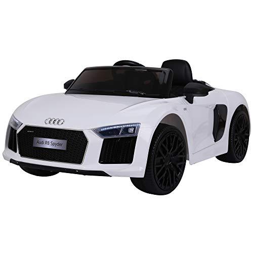 Homcom Coche Eléctrico para Niño 3-8 Años Audi R8 con Mando a Distancia MP3 USB Luces y Sonidos Asiento de Cuero Apertura de Puerta 123x71x49cm Carga 30kg