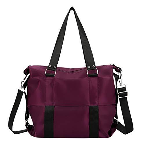 XNBZW damen tasche Große Kapazität Casual Schultertaschen Wasserdichte Multi Taschen Oxford Cross Body Handtaschen(Lila)