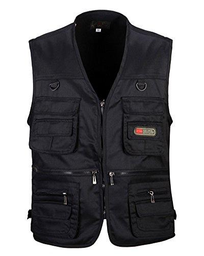 Penggenga giacca gilet con multi-tasca uomo viaggio pesca all'aperto senza maniche gilet da lavoro nero xl
