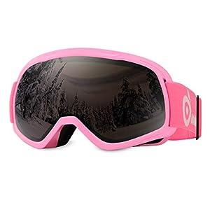 Odoland Skibrille, Snowboardbrille für die Jugendliche 8-16 Jahre – UV400 Schutz und Anti-Beschlage – Doppel Grau Sphärische Linse Bei sonnigem und bewölktem Tagen …