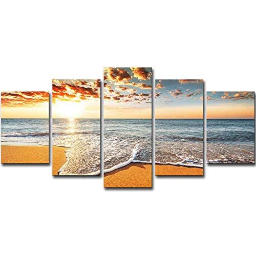 HUAXIN Multi Panel Wandbilder - HD-Druck Leinwand Wandbild - 5 Stück - Sunset-Sun-Beach-Seascape dekorative Gemälde-Kein Rahmen,S