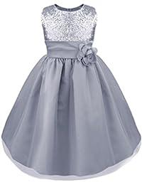 b196a8bdf3 IEFIEL Vestido Elegante para Nina Boda Fiesta Bautizo Chica Vestido  Lentejuelas Flor Brillante Ceremonia Niña