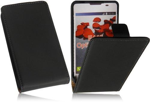 Für LG E440 Optimus L4 2/II Slim Design Tasche Flip Case Premium Leder Vertikaltasche Handytasche Flip style Schutzhülle mit integrierten DisplaySchutz in Slim Design in Schwarz/Black
