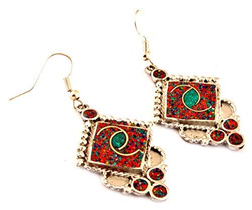 5a06ae59a2ae 9 - Pendientes de gota étnica de indio artesanos turquesa