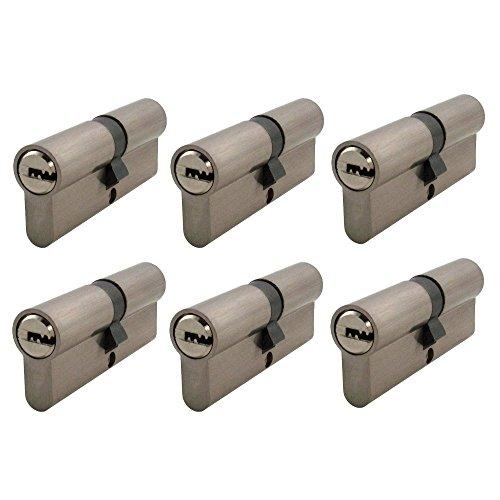 6x Zylinderschloss gleichschließend 60 mm mit jeweils 5 Wendeschlüssel für ein Schloss 30x30 mm