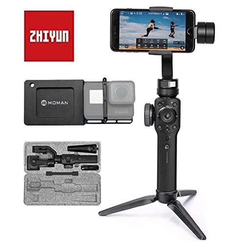 Smooth 4 Smartphone Gimbal mit GoPro-Gimbal Adapter, Mount Platte Halterung Handy Stabilisator 3-Achsen Handheld Stabilizer für GoPro Hero 7/6/5/4/3/3+ Actioncam Handy iPhone Samsung Huawei