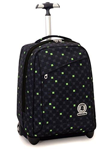 Trolley invicta , check , nero verde , 35 lt , 2in1 zaino  con spallacci a scomparsa , scuola & viaggio