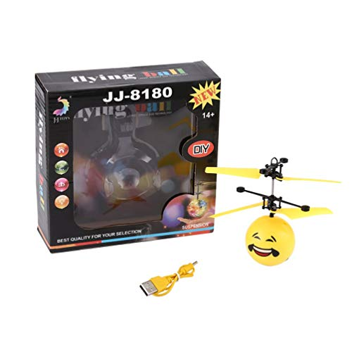 Price comparison product image Cute Facial Expression Infrared Induction Flying Flash Disco Colorful Magic LED Lamp Ball Helicopter Child Toy-Yellow