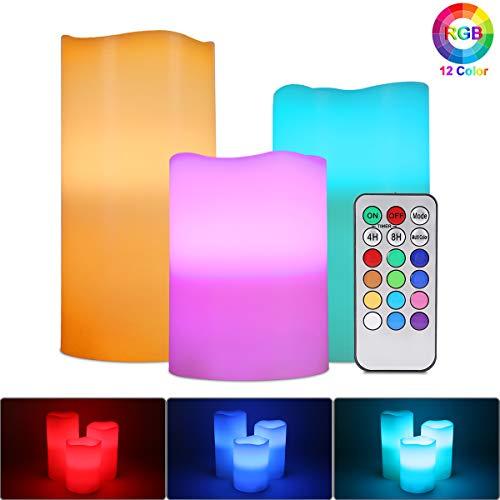 Velas de LED sin Llama, ALED LIGHT Pack de 3 RGB Multicolores Electrico Velas Luces de Cera Reales Velas Pilas Electricas con Mando a Distancia y Temporizador Velas Decorativas para Decoración, Bodas