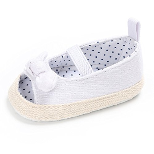 Baby Schuhe Auxma Cotton Sole Bowknot Nette Mädchen Baby Sandale Schuhe für 3-6 6-12 12-18 Monat (3-6 M, Blau) Weiß