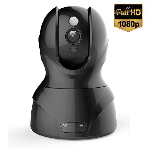 Milool Wireless IP Kamera 2MP Überwachungskamera 1920*1080 (2MP)Plug und Play Video Überwachung Pan/Tilt mit 2-Wege Audio Netzwerk Kamera Night Vision Motion Detection Micro SD Karte bis zu 64 GB Schwarz