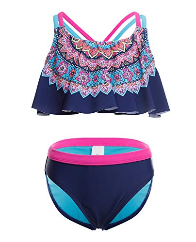 iDrawl Mädchen Bademode Tankini Set UPF 50+ UV-Schutz Anzug,10-12 Jahre