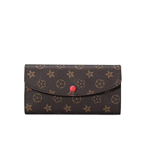Ldyia Brieftaschendruck Damen Clutch Bag Retro Geldbörse Lange Multi-Karten-Brieftasche Geldbörse, rot (Vuitton Brieftasche Louis Damen)