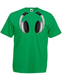 lepni.me Camisetas Hombre Auriculares Frescos - Música Rock and Roll DJ Clothes
