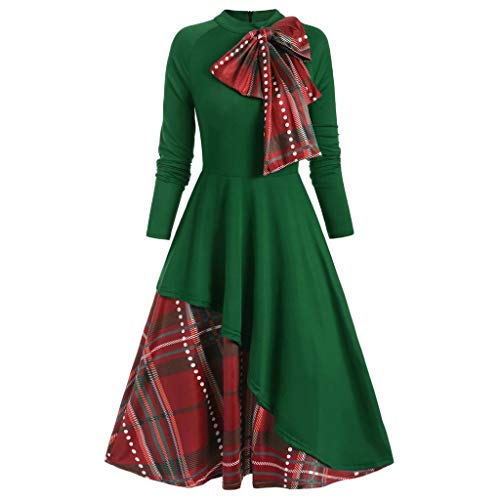 Lazzboy Kleider Frauen Partei Plaid Kontrast Bowknot Lange Hülsen überlagerungs Kleid Damen Lang Mit Patchwork Langarm O-Ausschnitt Vintage Party Dress(Grün,S)