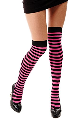 DRESS ME UP - Strümpfe Damenstrümpfe Overknees Schwarz Pink gestreift geringelt Ringelstrümpfe Karneval Punk Girly Z163