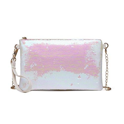 Miss LuLu Damen Handtasche Clutch Bag Unterarmtasche Party Hochzeit Abendtasche Kettentasche Umhängetasche glitzernd (1765-Weiss)