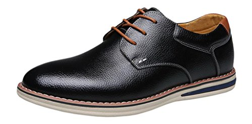EOZY Chaussure De Ville à Lacet Homme Cuir Pu Oxford Derby Richelieu Style Anglais Bureau Noir