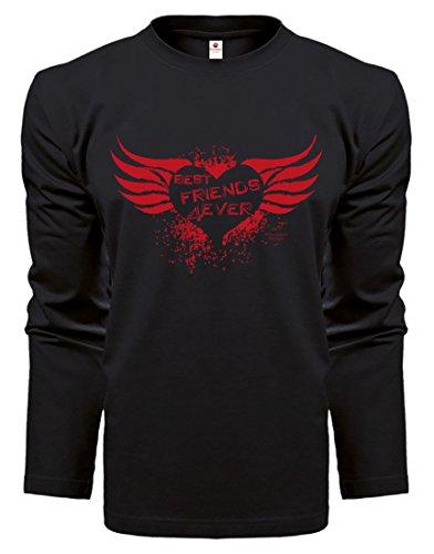 Herren Langarmshirt - Top Geschenk - Farbe: Schwarz - Motiv: Best Friends Rot Schwarz