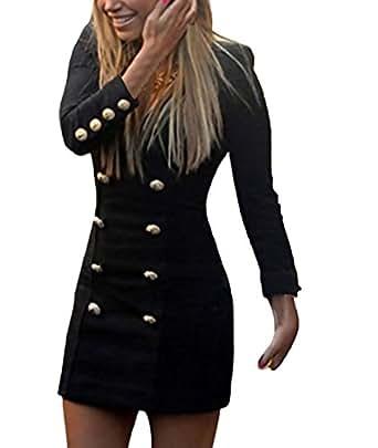 Minikleid Damen Kleider Kurz Elegant Langarm Slim A Linie ...