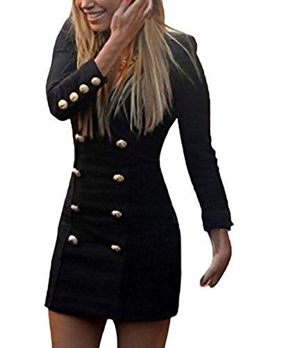 Donna vestiti eleganti corti vestitini blazer ragazze manica lunga v neck abito da giorno doppio petto abiti tubino casual vestito tailleur puro colore dress mini abbigliamento ufficio