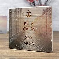 elbPLANKE - KEEP CALM and SAY MOIN - Speicherstadt | 10x10 cm | Holzbild von Fotoart-Hamburg - 100% Handmade